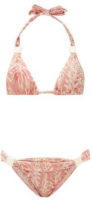 Adriana Degreas Aloe-print Halterneck Bikini - Womens - Pink Print