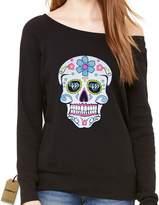 Expression Tees Slouchy Sugar Skull White Print Dia De Los Muertos Ladies