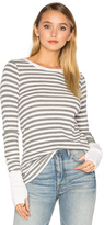 Michael Stars Striped Thermal Long Sleeve with Thumbholes