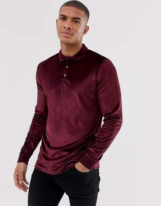 Asos Design DESIGN long sleeve polo shirt in velour in oxblood-Red