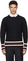 Thom Browne Navy Aran Cable Cricket Stripe Classic Crewneck Pullover