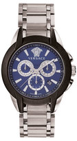 Versace 42.5mm Men's Character Chronograph Watch, Silver/Blue