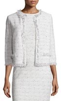 St. John Izza Tweed 3/4-Sleeve Jacket, Putty/Multi
