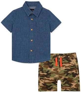 Joe's Jeans Denim Shirt & Camo Shorts 2-Piece Set (Little Boys)