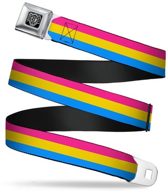 """Buckle Down Buckle-Down Seatbelt Belt - Flag Pansexual Pink/Yellow/Blue - 1.5"""" Wide - 32-52 Inches in Length"""