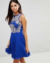 TFNC Skater Dress With Lace Body