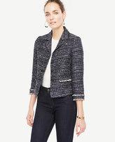 Ann Taylor Petite Tweed Fringe Jacket
