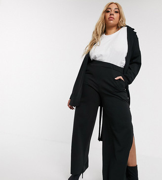Pink Clove wide leg trousers with side split co-ord-Black
