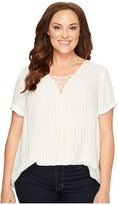 Lucky Brand Plus Size Dobby Lace-Up Top Women's Short Sleeve Pullover