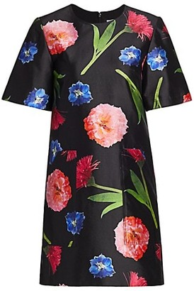 Carolina Herrera Short-Sleeve Floral Silk-Blend Shift Dress