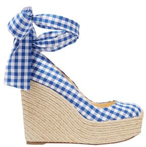 Christian Louboutin Barbaria Zeppa 120 Gingham Canvas Wedge Espadrilles