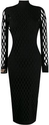 Fendi FF motif detail mesh dress