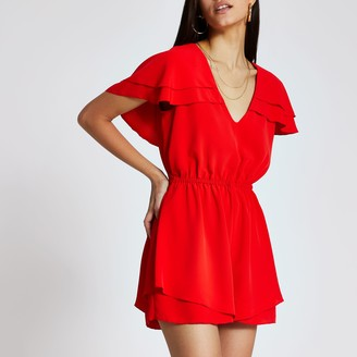 River Island Womens Red fill sleeve tie belted playsuit
