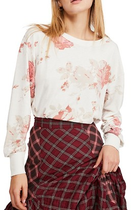 Free People Camo High-Low Cotton-Blend Top