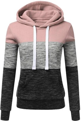 Rovinci Women's Clothing Rovinci_Womens Striped Stitching Hooded Sweatshirt Colorblock Hoodie Long Sleeve Warm-up Solid Hoody Kangaroo Pocket Home Ware Pink