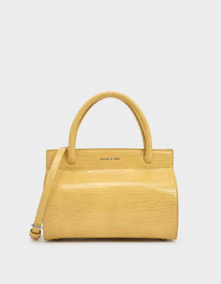 Charles & Keith Croc-Effect Double Top Handle Structured Bag