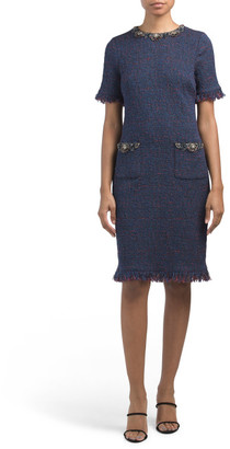 Short Sleeve Fringed Tweed Dress