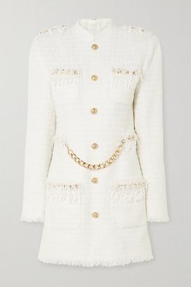 Balmain Chain And Sequin-embellished Tweed Mini Dress - White