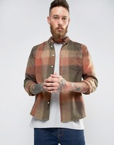 Asos Check Shirt In Herringbone In Rust With Long Sleeves