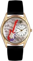 Whimsical Watches Kids' C0510006 Classic Gold Electric Guitar Black Leather And Goldtone Watch