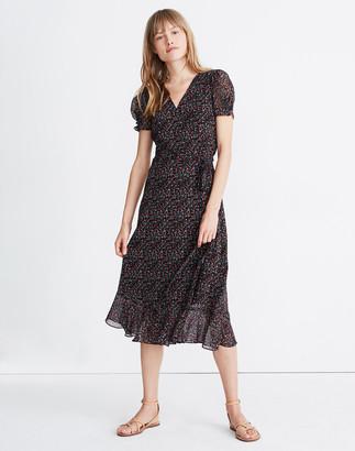 Madewell Petite Button-Sleeve Wrap Midi Dress in Fieldwalk Floral