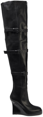 Ann Demeulemeester Buckled Leather Platform Thigh Boots