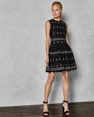 Ted Baker Star Jacquard Lurex Knitted Dress