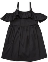 Milly Minis Smocked Cold-Shoulder Stretch Poplin Dress, Black, Size 8-14