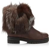 Jimmy Choo DANA FLAT Black Leather and White Fox Fur Boots
