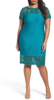 Tadashi Shoji Plus Size Women's Lace Inset Shutter Pleat Sheath Dress