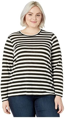MICHAEL Michael Kors Size Oversized Long Sleeve Tee (White/Evergreen) Women's Clothing