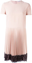 RED Valentino pleated lace trim dress - women - Polyester/Acetate - 42