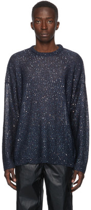 Our Legacy Navy Sequin Popover Sweater