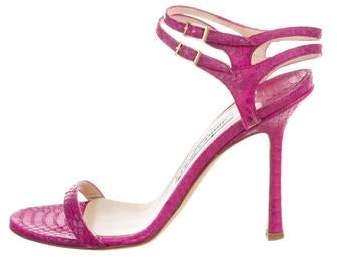 Jimmy Choo Python Ankle Strap Sandals
