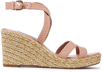 Stuart Weitzman Woven Leather Wedge Espadrille Sandals