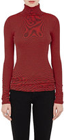 6397 Women's Striped Cotton-Cashmere Turtleneck-RED