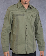 Rebel Spirit Olive 'RS' Sleeve Single Pocket Button-Up - Men's Regular