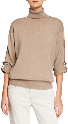 Brunello Cucinelli Cashmere Monili-Beaded Ribbon-Trim Turtleneck Sweater