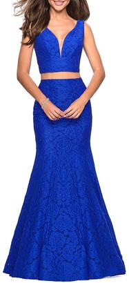 La Femme Two-Piece Stretch-Lace Dress Set w/ Sleeveless Crop Top & Mermaid Skirt