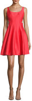 Halston Sleeveless Cutout Faille Cocktail Dress, Poppy