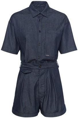 DSQUARED2 Short Cotton Stretch Denim Jumpsuit