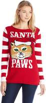 Ugly Christmas Sweater Junior's Santa Paws Roll Neck Tunic Pullover Christmas Sweater