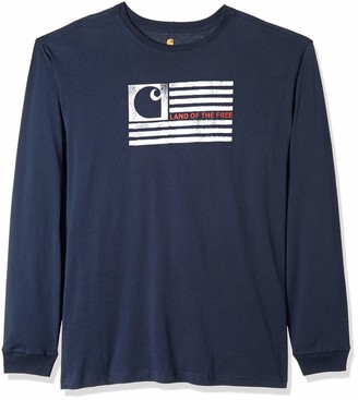 Carhartt Men's Big & Tall Lubbock Logo Flag Graphic Long Sleeve T Shirt
