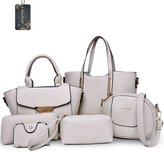Donaword Women 6 Pieces Muti-purpose Bag in Bag Purse PUeather Handbag Set Purpe