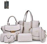 Donaword Women Muti-purpose 6 Pieces Bag in Bag Purse PUeather Shouder Handbags Cutch Waet Set