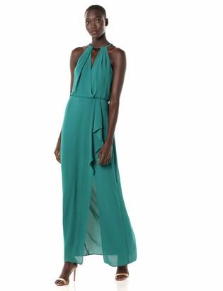 BCBGMAXAZRIA Azria Women's Faux Wrap Blouson Halter Gown