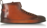 Santoni Brown Leather High Top Sneakers