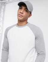 Asos Design DESIGN long sleeve raglan t-shirt with crew neck in white & gray marl