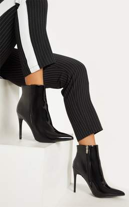 PrettyLittleThing Black Patent Point Toe Ankle Boot