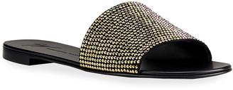 Giuseppe Zanotti Swarovski Studded Flat Slide Sandals